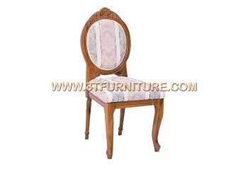 เก้าอี้ชุดรับแขกไม้สัก หลังกลมหัวแคท(แกะลาย)พนักสูง