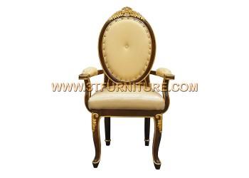 เก้าอี้ชุดรับแขกไม้สัก หลังกลมหัวแคท(แกะลาย)พนักสูงท้าวแขน