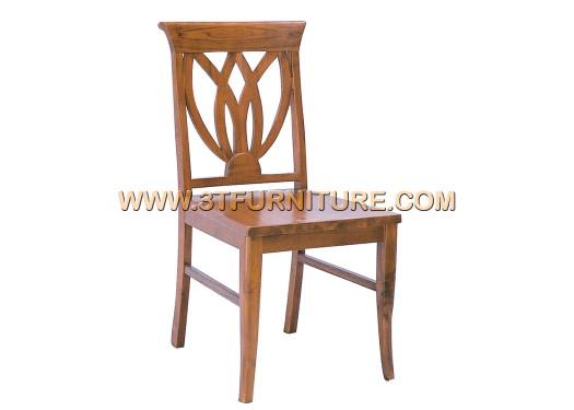 เก้าอี้ไม้สัก ดอกบัวพื้นไม้จริง