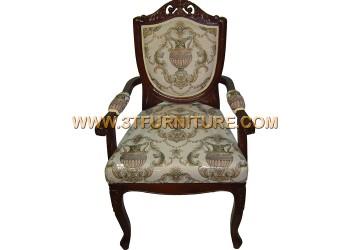 เก้าอี้ชุดรับแขกไม้สัก ลูกข่างแคทลียาสีโอ้คท้าวแขน