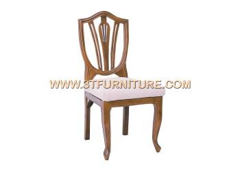 เก้าอี้ชุดรับแขกไม้สัก ลูกข่างไม้พื้นเบาะ