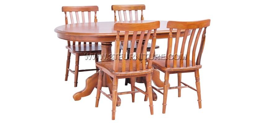 ชุดโต๊ะอาหารไม้สัก รูปไข่150ขากลึง+กัปตัน1