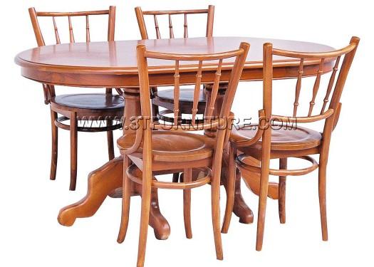 ชุดโต๊ะอาหารไม้สัก รูปไข่150ขากลึง+เชคโก
