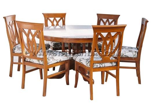 ชุดโต๊ะอาหารไม้สัก ฐานวางหินกลม130+เก้าอี้ดอกบัวพื้นเบาะ