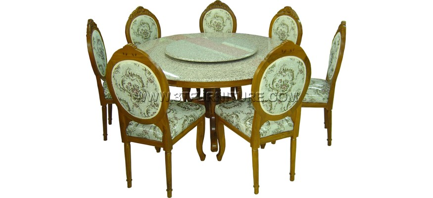 ชุดโต๊ะอาหารไม้สัก ชุดโต๊ะอาหารไม้สัก ฐานวางหินกลม150+เก้าอี้หลังกลมแกะลาย