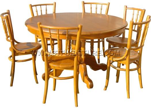 ชุดโต๊ะอาหารไม้สัก กลม130+เชคโก