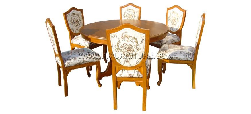 ชุดโต๊ะอาหารไม้สัก กลม130+ลูกข่างหลังหุ้ม