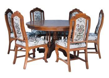 ชุดโต๊ะอาหารไม้สัก กลม130ขากลึง+ศรแดง