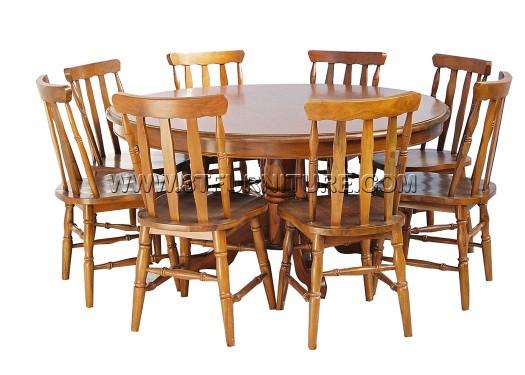 ชุดโต๊ะอาหารไม้สัก กลม150ขากลึง+กัปตัน2