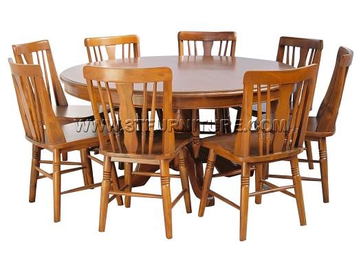ชุดโต๊ะอาหารไม้สัก กลม150ขากลึง+กัปตัน3