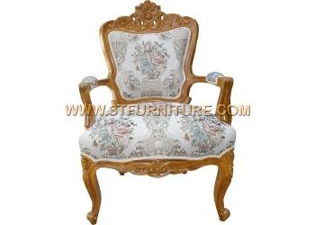เก้าอี้ชุดรับแขกไม้สัก หลุยส์ชบาท้าวแขน