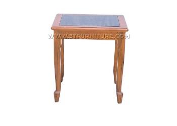 โต๊ะข้างไม้สักกระจกสายไหม
