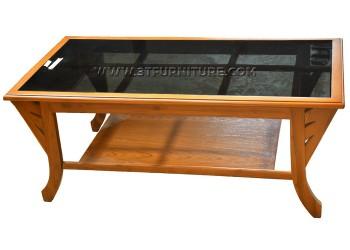 โต๊ะกลางไม้สักกระจกบีตาราง