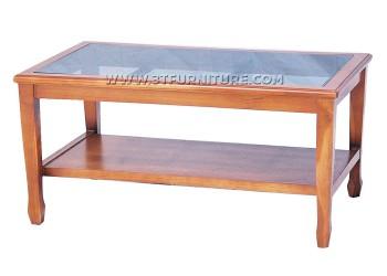 โต๊ะกลางไม้สักกระจกผีเสื้อตาราง
