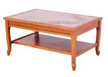 โต๊ะกลางไม้สักกระจกสายไหมมีลิ้นชัก