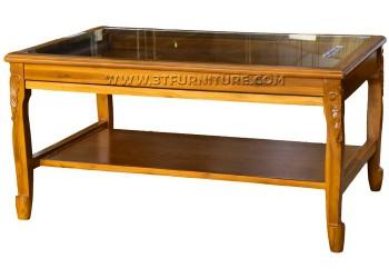 โต๊ะกลางไม้สักกระจกสายไหมแกะลายมีลิ้นชัก