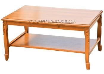 โต๊ะกลางไม้สักสายไหมแกะลายหน้าไม้จริง